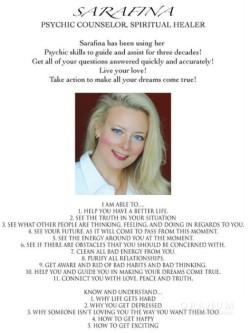 Psychic Sarafina: Spiritual Healer and Psychic Counselor